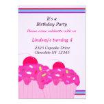 Pink Cupcakes Birthday Party Invitation