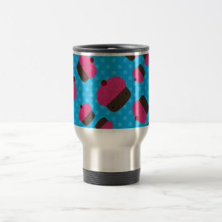 Pink cupcakes blue polka dots 15 oz stainless steel travel mug