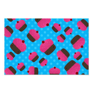 Pink cupcakes blue polka dots photographic print