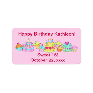 Pink Cupcakes /Cake Happy Birthday Sweet 16 Personalized Address Labels