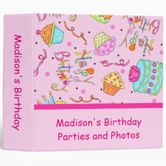 Pink Cupcakes Cakes Custom Birthday Album Binder