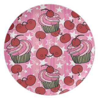 Pink Cupcakes, Cherries & Stars Plate