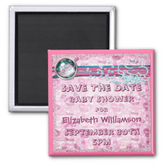 Pink Cupcakes & Glitter Baby Shower Save The Date Fridge Magnet
