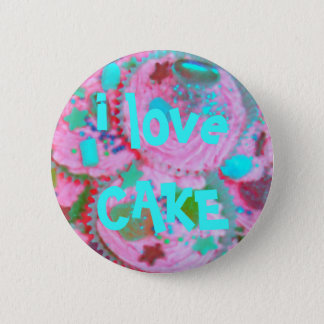 Pink Cupcakes 'i love CAKE' button badge