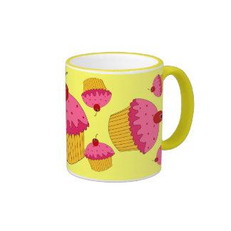 Pink Cupcakes Ringer Coffee Mug