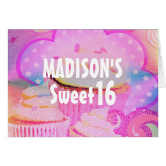 Pink Cupcakes Sweet 16 Personalized Birthday Card