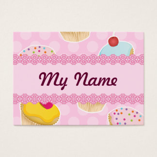 Pink Cupcakes with cute Polka Dots Business Card