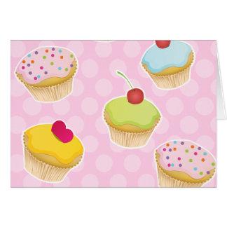 Pink Cupcakes with cute Polka Dots Card