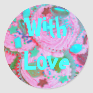 Pink Cupcakes 'With Love' sticker