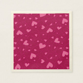 Pink curly hearts napkin