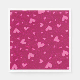 Pink curly hearts paper napkin