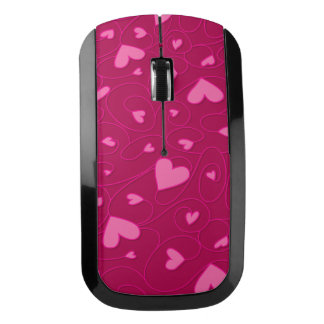 Pink curly hearts wireless mouse
