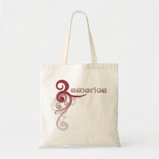 Pink Curly Swirl America Tote Bag