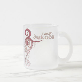 Pink Curly Swirl North Dakota Mug Glass