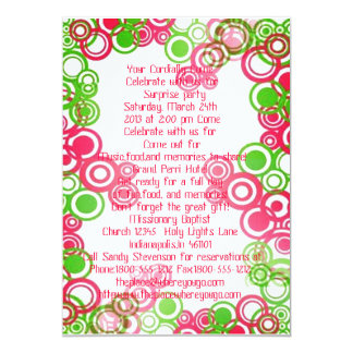 """Pink Curly Swirl Surprise Party Invite 5"""" X 7"""" Invitation Card"""