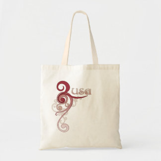 Pink Curly Swirl USA Tote Bag