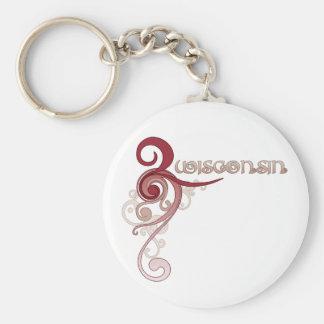 Pink Curly Swirl Wisconsin Keychain