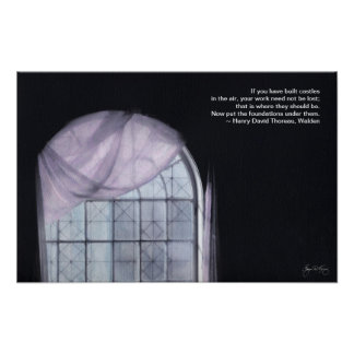 Pink Curtain on an Arched Window: Thoreau Poster