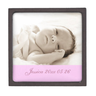 Pink Custom Baby Photo Keepsake Giftbox Jewelry Box
