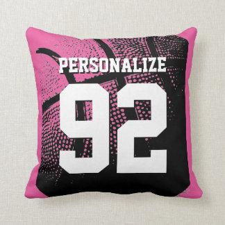 Pink custom basketball jersey number throw pillow
