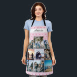 """Pink custom Family Photo Collage with name Apron<br><div class=""""desc"""">Custom Family Photo Collage with name</div>"""