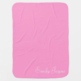 Pink custom girls name cute blanket for baby girl stroller blanket