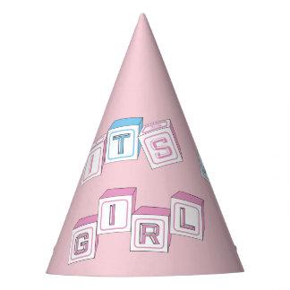 Pink Custom It's a Girl Blocks Baby Shower Hats