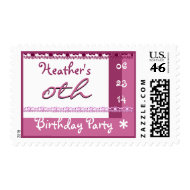 PINK Custom Name and Year Birthday Party Stamp stamp