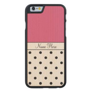 Pink Custom Name, Black Polka Dots Carved® Maple iPhone 6 Slim Case