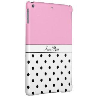 Pink Custom Name, Black & White Polka Dots iPad Air Cases