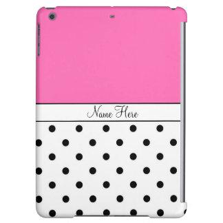 Pink Custom Name, Black & White Polka Dots iPad Air Cover