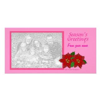 Pink Custom Photo Card Christmas Red Poinsettia