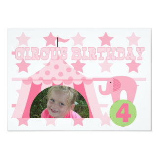 "Pink Custom Photo Circus Birthday 5x7"" Invitation"