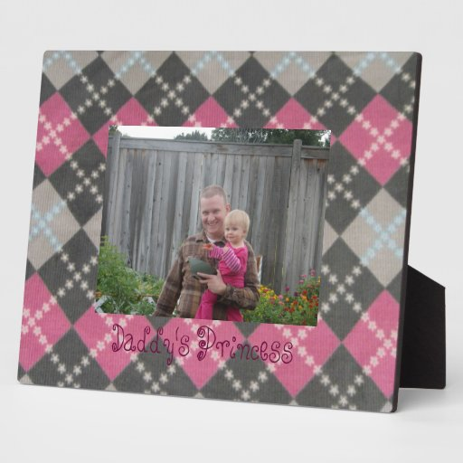 Pink Custom Pink and Gray Argyle Frame Plaque