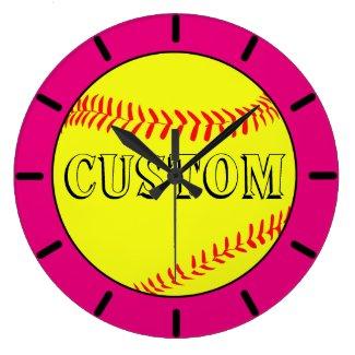 Pink Custom Softball Wall Clock