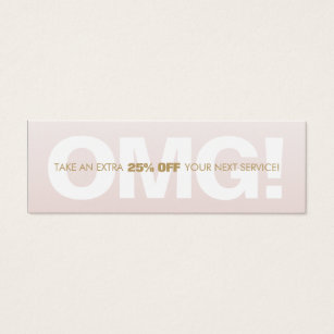 Coupon business cards templates zazzle pink customer discount loyalty coupon salon spa mini business card colourmoves