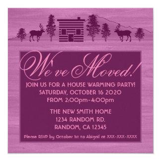 Pink customizable log cabin moving invitations