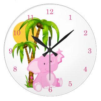 Pink Cute Baby Elephant Wall Clocks