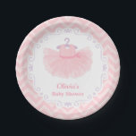 "Pink Cute Ballerina Tutu Baby Girl Shower Supplies Paper Plate<br><div class=""desc"">Match and decorate for that ballerina themed baby shower with these baby shower paper plates supplies. The plates come with a cute little beautiful ballerina tutu outfit with fluffy frills and a polka dots ribbon. A purple decorative border and a classic pastel pink chevron zigzag pattern for background. Girly and...</div>"