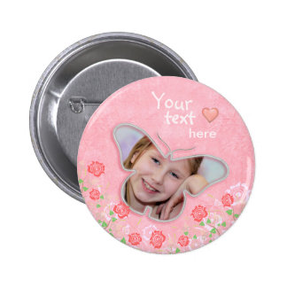Pink cute butterfly photo frame gifts for girls button