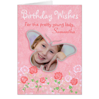 Pink cute butterfly photo frame gifts for girls card