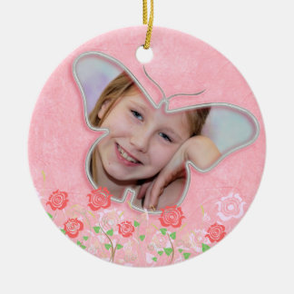 Pink cute butterfly photo frame gifts for girls ceramic ornament