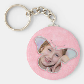 Pink cute butterfly photo frame gifts for girls keychain
