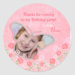 Pink cute butterfly photo frame gifts for girls sticker