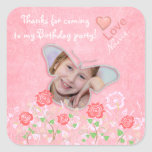 Pink cute butterfly photo frame gifts for girls square sticker