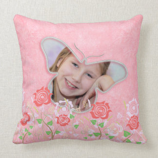 Pink cute butterfly photo frame gifts for girls throw pillow