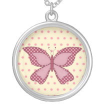 pink cute butterfly silver plated necklace