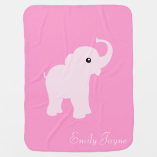Pink cute elephant custom baby girls name blanket baby blankets