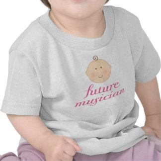 Pink Cute Future Musician baby head Tees