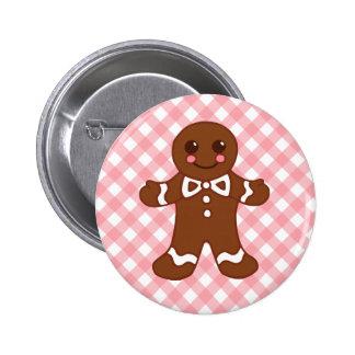 Pink Cute Gingerbread Man Christmas Button